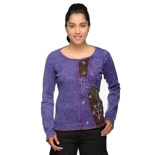 Patchwork Shirt Pullover Oberteil Sweatshirt Zip Hoodie Freizeitshirt Hippie Goa Psy Sweater Devi