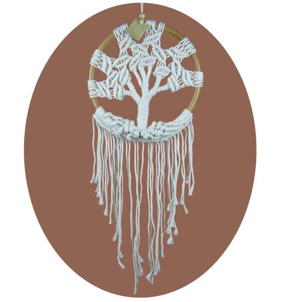 Traumfänger Dreamcatcher Lebensbaum Träume Windspiel Geschenk Deko Hängend weiß 28 x 80 cm