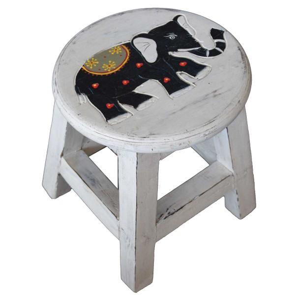 Holzhocker Kinderhocker Hocker Sitzhocker Fußbank Massivholz Schemel Stuhl mit Tiermotiv Deko weiß