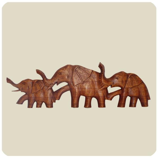 Wandmaske Elefant - Holzmaske aus Suar-Holz - afrikanische Schnitzerei - Handarbeit - Wanddekoration