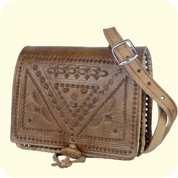Leder-Handtasche Casablanca 15x18cm - Umhängetasche mit dekorativer Lederprägung - marokkanisch