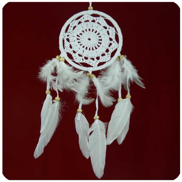 Traumfänger Dreamcatcher Windspiel Federn Träume Geschenk Deko Hängend gehäkelt 11 cm