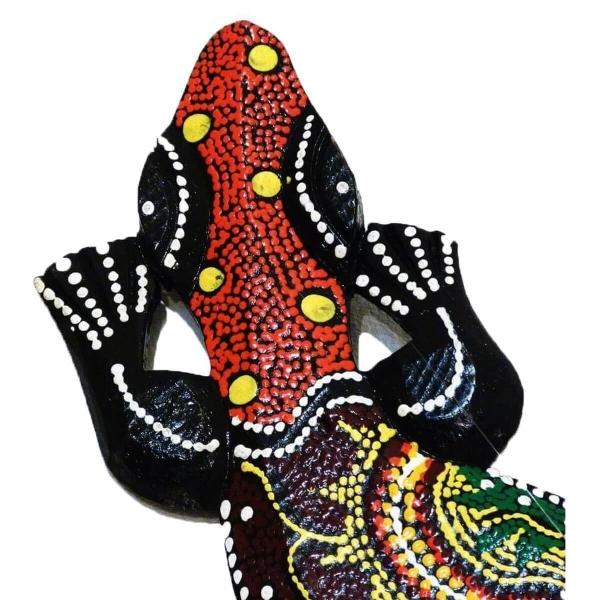 Gecko Echse Deko Figur Wanddeko Holzfigur Wandfigur Afrika Asia punktbemalt dotpainting Salamander