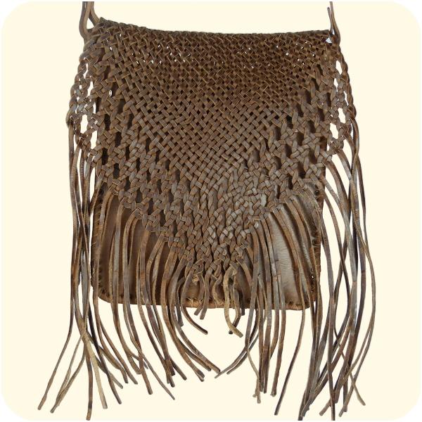 Umhängetasche Indian 30x25cm - Lederhandtasche mit Fransen - marokkanische Schultertasche