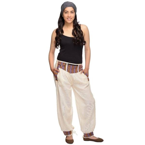 """Haremshose """"Thamel"""" I Freizeithose mit breitem Bund I Fischerhose für Damen I 2 Taschen I verschiedene Größen I Simandra"""
