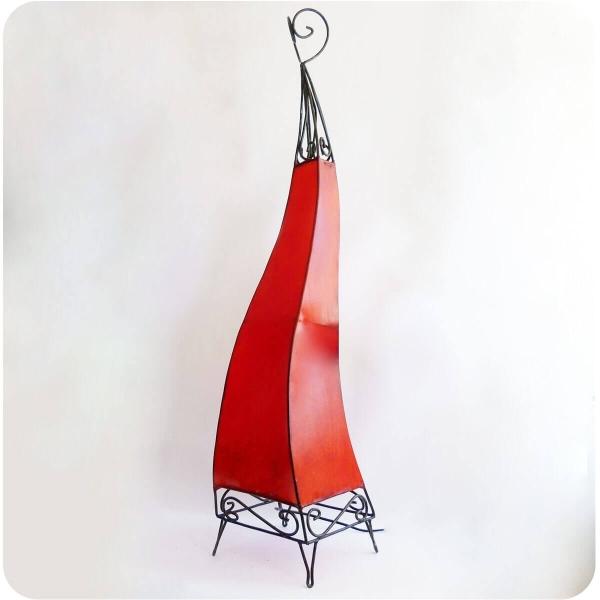 Orientalische Lampe Hennalampe marokkanische Lederlampe Tischleuchte Stehleuchte El Bahia einfarbig 100 cm