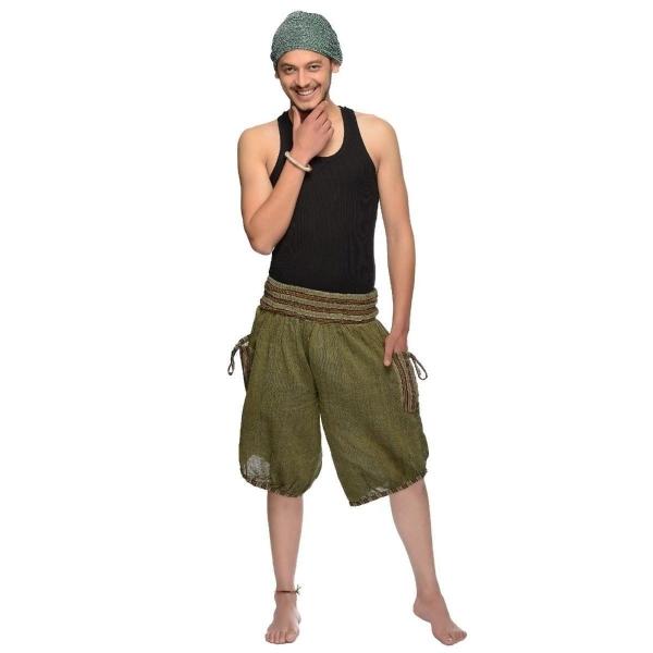 Haremshose Shorts Bermuda Jogginghose Sweathose Freizeithose Trainingshose gesmokt Varkala Herren