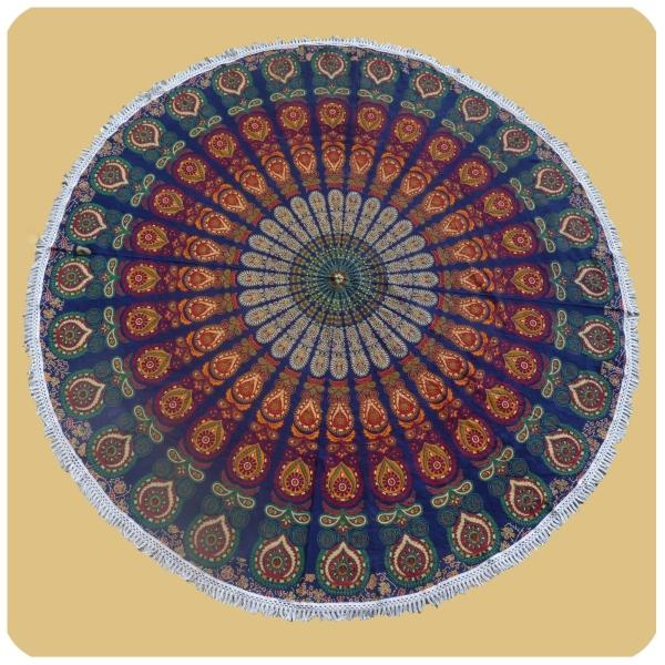 Wandtuch rund Mandala indischer Wandbehang Strandlaken Tagesdecke Tischdecke Tuch groß 3