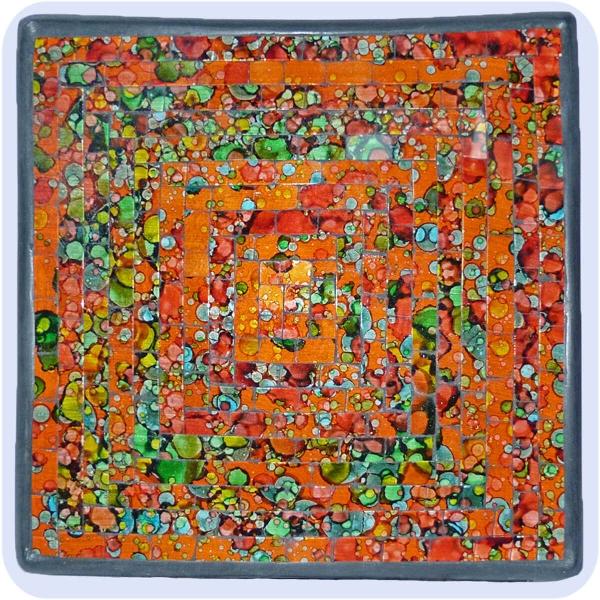 Mosaikschale Tonschale Glasschale Dekoschale Mosaik Kunsthandwerk Glassteine Deko Quadrat bunt mini