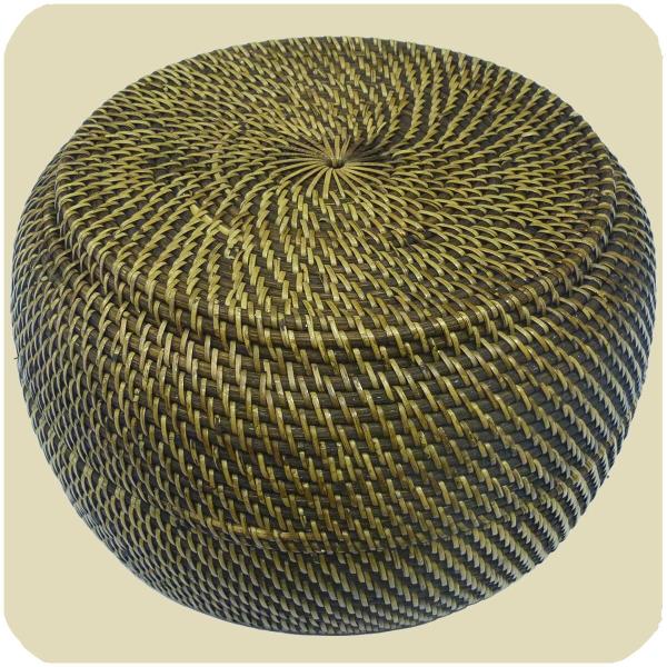 Korbschale mit Deckel aus 100% Ata, Rattan Palme, dekorative Unikate Korb-schale Holz-korb Handarbeit natur rund 33x20 cm