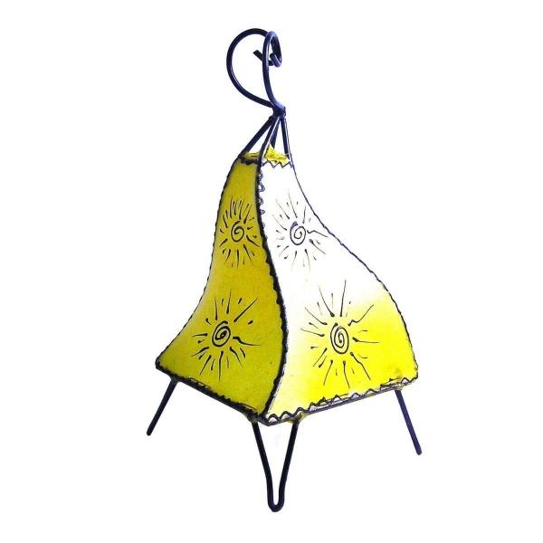 Orientalische Lampe Hennalampe marokkanische Lederlampe Tischleuchte Stehleuchte Mellah Sonne 35-38 cm