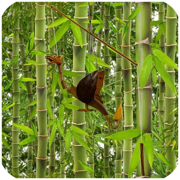 Drache Windspiel Mobile Türglocke Kokosnuss Holz handgefertigt