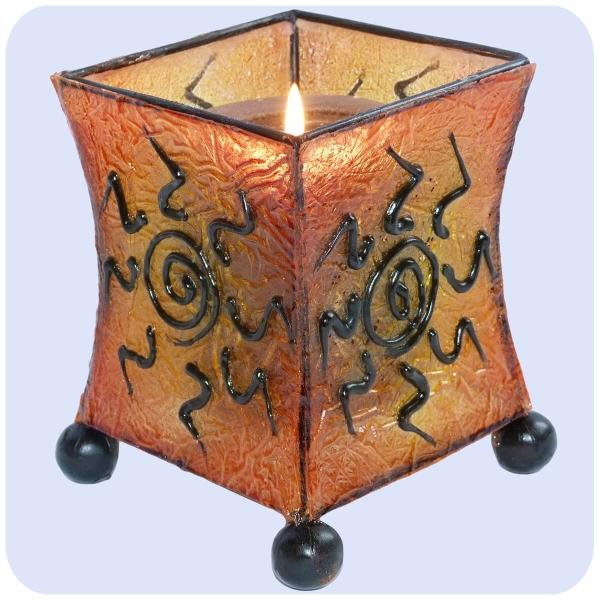 Windlicht Kerzen-Ständer Teelicht-Halter Deko Garten Orient Asien Resin Fieberglas Mediterrane eckig 13 x 10 cm