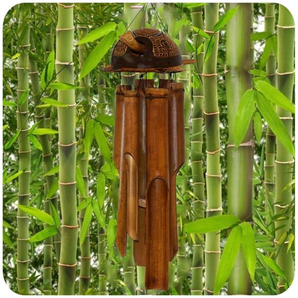 Windspiel Bambus Feng Shui Klangspiel Mobile Klangröhren Entspannung Garten Türglocke Schildkröte