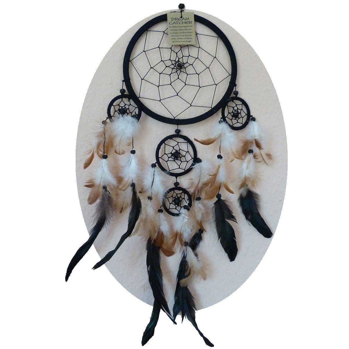 traumf nger dreamcatcher federn deko geschenk windspiel 32 cm. Black Bedroom Furniture Sets. Home Design Ideas