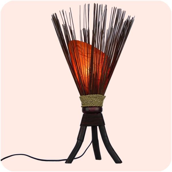 Bali asiatische Lampe Jungle 60x35cm - traumhaftes Stimmungslicht - Naturmaterial Standleuchte