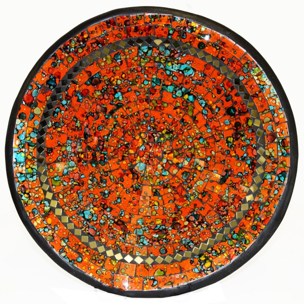 Mosaikschale Tonschale Glasschale Dekoschale Mosaik Kunsthandwerk Glassteine Deko rund Spiegel XL