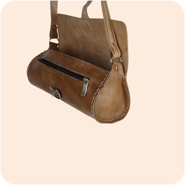 Schultertasche Laffa Leder rund 24x10cm - marokkanische Umhängetasche, Lederhandtasche