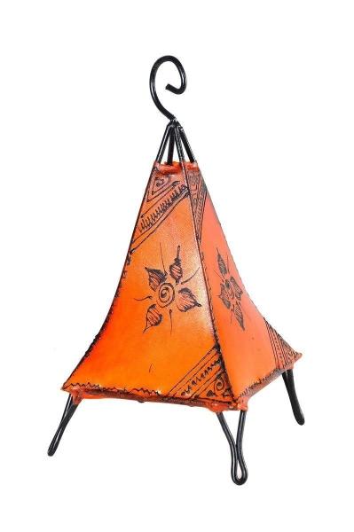 Orientalische Lampe Hennalampe marokkanische Lederlampe Tischleuchte Stehleuchte Pyramide Orient 35-38 cm