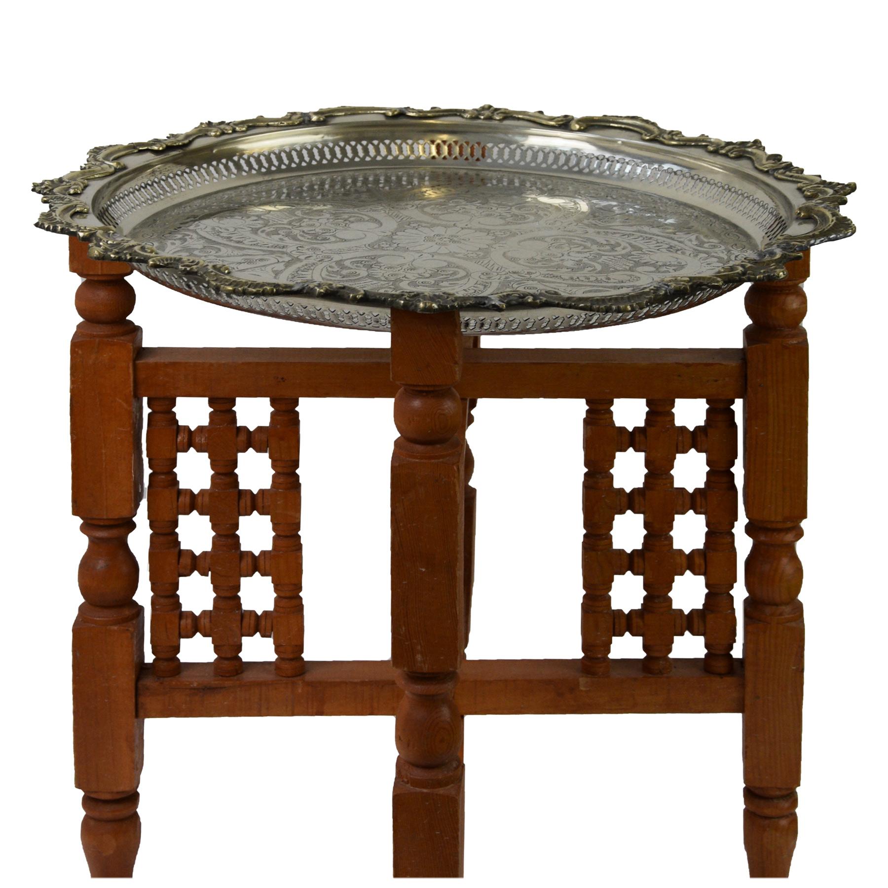Holzgestell für Tablett Gestell Untergestell für marokkanisches Silbertablett