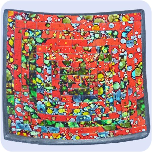 Mosaikschale Tonschale Glasschale Dekoschale Mosaik Kunsthandwerk Glassteine Deko Quadrat bunt klein