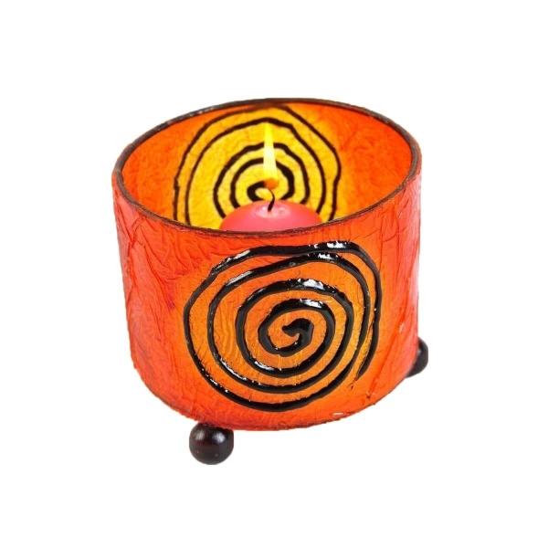 Windlicht Teelicht Teelichthalter Kerzenhalter Deko Resin Bali Asia Fieberglas Mediterrane rund