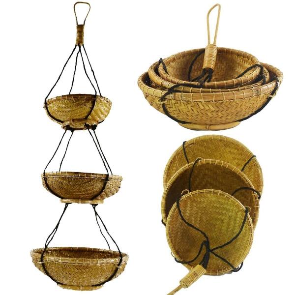 Rattan Hängekorb, Bambus Hängeregal, Boho Unikat, Hänge-Etagere Regal Dekorative Korbhänger