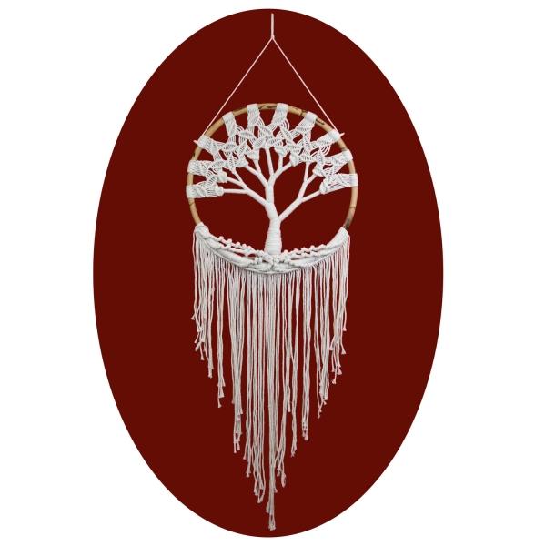 Traumfänger Dreamcatcher Lebensbaum Träume Windspiel Geschenk Deko Hängend weiß 137x55 cm