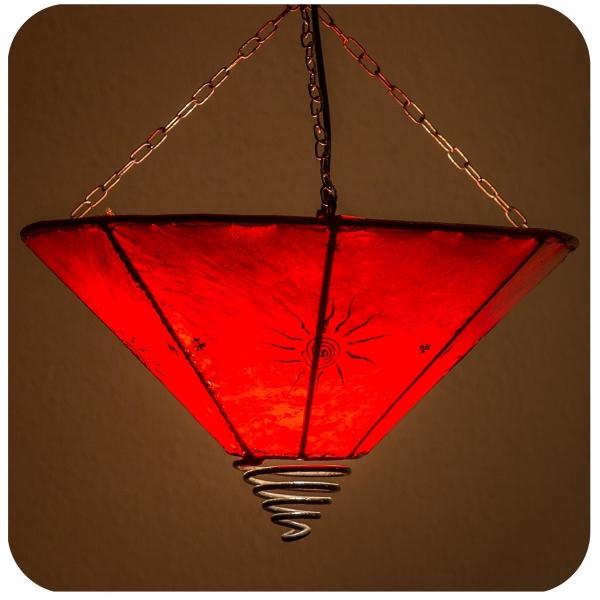 Orientalische Lampe Deckenleuchte Hängelampe marokkanische Deckenlampe Lederlampe Fuego Sonne 40 cm