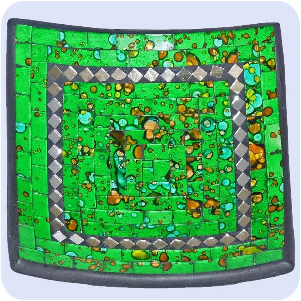 Mosaikschale Tonschale Glasschale Dekoschale Mosaik Kunsthandwerk Glassteine Deko Quadrat Spiegel mittel