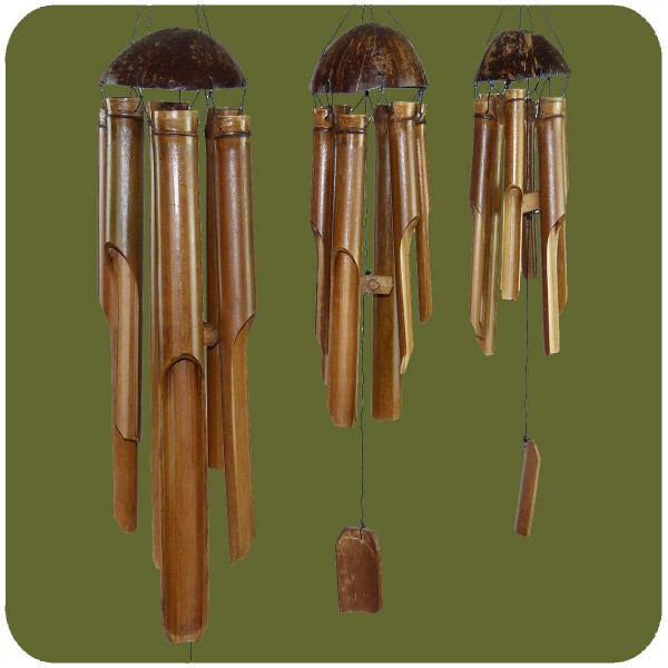 Windspiel Klangspiel Bambus Mobile Klangröhren Türglocke 3er Set gross