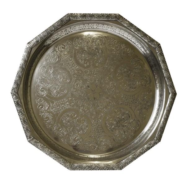 Orientalisches marokkanisches Tablett Serviertablett Teetablett Silber Handarbeit Unikat