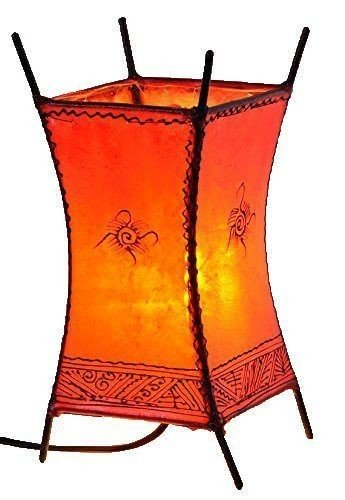 Orientalische Lampe Hennalampe marokkanische Lederlampe Tischleuchte Stehleuchte Carree Sonne 30 cm