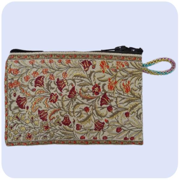 Geldbeutel Stoffbeutel Geldbörse mit Reißverschluss Handarbeit bestickt Tasche mini