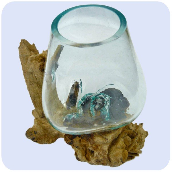 Wurzelholz Glas-Vase Wurzel-Vase Deko-Glas Holz Geschenk Unikat Objekt Design Blumenvase mittel