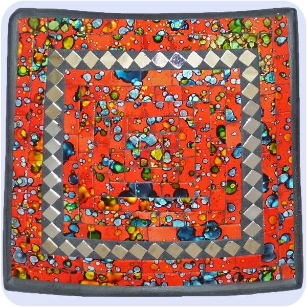 Mosaikschale Tonschale Glasschale Dekoschale Mosaik Kunsthandwerk Glassteine Deko Quadrat Spiegel klein