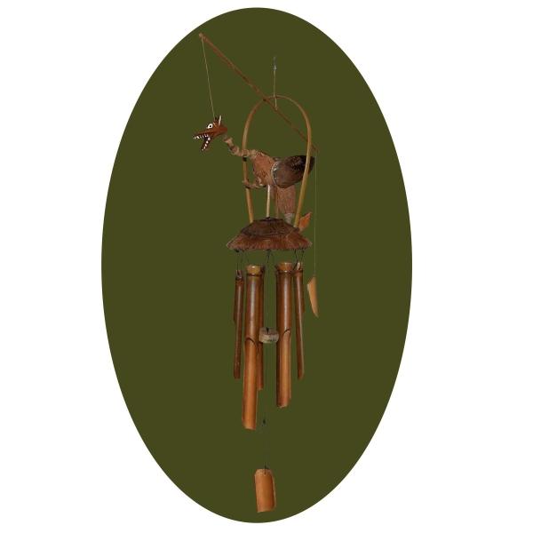Windspiel Klangspiel Bambus Mobile Drache Klangholz