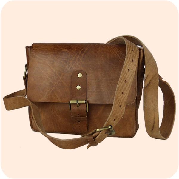Leder Handtasche Noura 20x23cm - elegante Umhängetasche - marokkanische Schultertasche