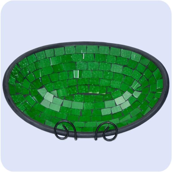 Mosaikschale Tonschale Glasschale Dekoschale Mosaik Kunsthandwerk Glassteine Deko oval mittel