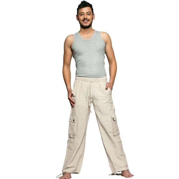 Simandra Cargo-Hose aus Baumwolle - Arbeitshose im Cargo-Stil mit Gummibund - Hose mit vielen Taschen - Freizeithose mit geradem Bein