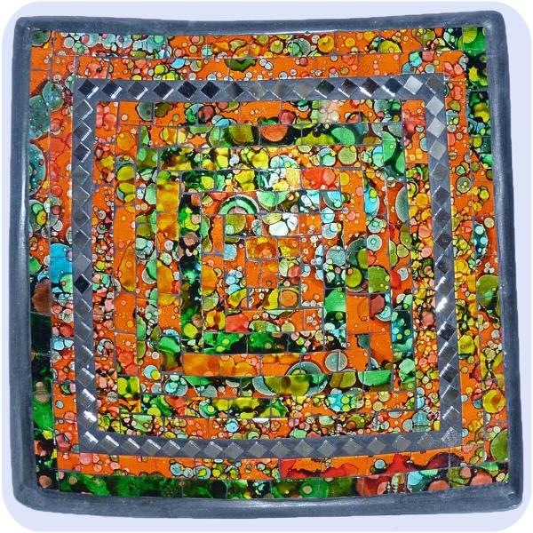 Mosaikschale Tonschale Glasschale Dekoschale Mosaik Kunsthandwerk Glassteine Deko Quadrat Spiegel groß