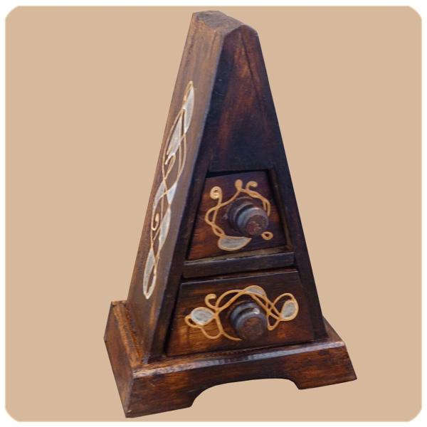Schubladenkommode Pyramide Albizia Holz Schrank mit Schubfächer Deko Handarbeit aus Bali