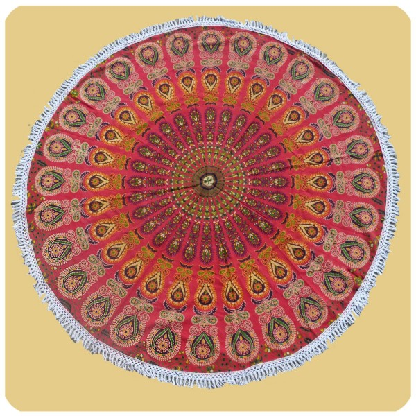 Wandtuch rund Mandala indischer Wandbehang Tischdecke Tuch 1