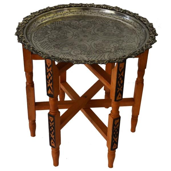 Marokkanischer Tisch Beistelltisch Teetisch orientalisch mit Silbertablett -klein-