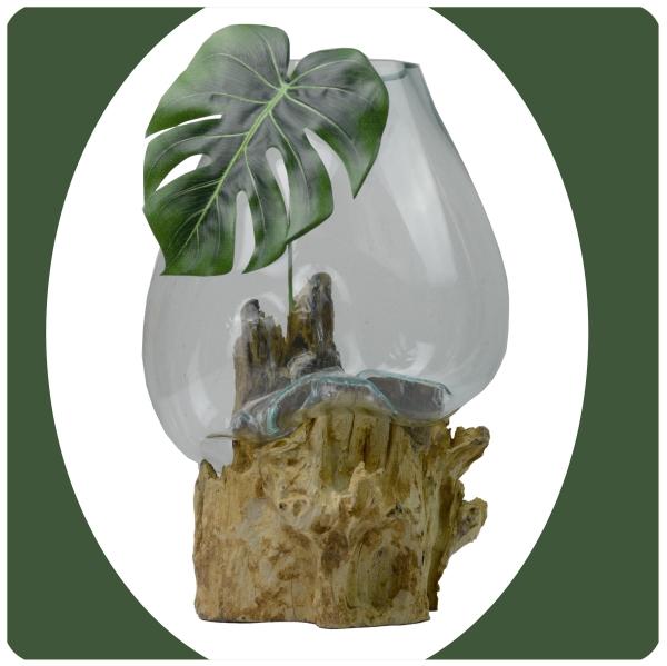 Wurzelholz Glas-Vase Wurzel-Vase Deko-Glas Kaffeewurzel Holz Design Blumenvase extra groß