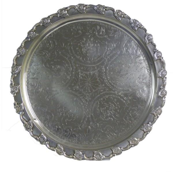 Orientalisches marokkanisches Tablett Serviertablett Teetablett Silber Handarbeit Unikat Ø 58 cm