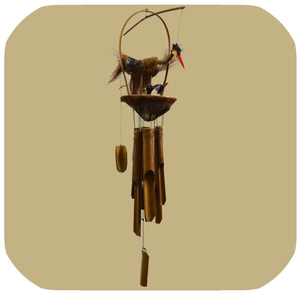 Windspiel Klangspiel Bambus Mobile Türglocke Feng Shui Kranich mit Kindern