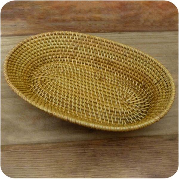 Brotschale Burma aus Rattan, Obstschale Brotkorb dekorative Unikate Handarbeit oval