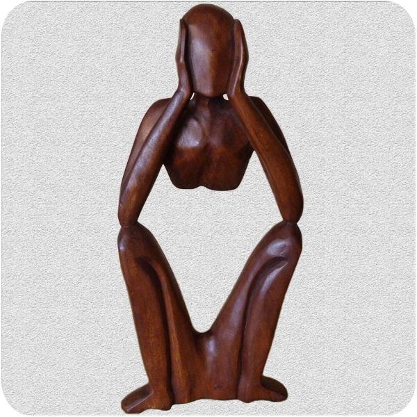 Holz Figur Skulptur Abstrakt Holzfigur Statue Afrika Asia Handarbeit Deko Denker