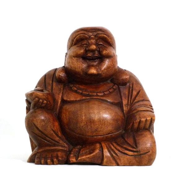 Happy Buddha Holz Figur Skulptur Abstrakt Holzfigur Statue Afrika Asia Glücksbringer Handarbeit Deko